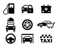 Black and white car service icons. Depicting a fuel pump, security, battery, car wash, tyre, purchase, steering wheel , garage and taxi stock illustration