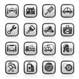 Black an white car service maintenance icons Royalty Free Stock Photography