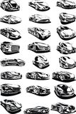 Black and white car set Royalty Free Stock Photos