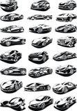 Black and white car set Stock Photos