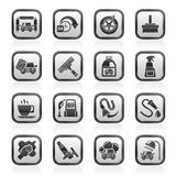 Black and white car wash objects and icons Royalty Free Stock Photos