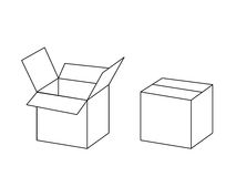 Black and white cardboard box package open and closed, vector. Illustration Royalty Free Stock Images