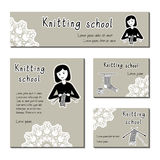 Black-white  cards template for knitting school, yarn shop. Flat icon knitter girl. Set of template for business card Royalty Free Stock Photo