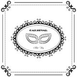 Black and white Carnival backgraund, vintage mask, mask party Royalty Free Stock Photo