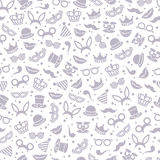 Black and white carnival seamless pattern. Neutral black and white carnival seamless pattern with mask, detective hat, smiling lips and princess crown. Vector Royalty Free Stock Images