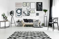 Carpet on the floor. Black and white carpet lying on the floor in bright room with many posters stock images
