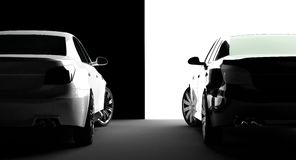 Black and white cars. On a black-and-white background Stock Images