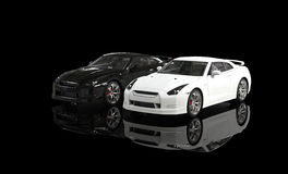 Black and White Cars on Black Background Stock Photo