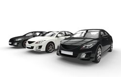 Black And White Cars Showroom Royalty Free Stock Photos