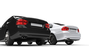 Black and white cars - taillights Stock Photo