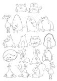 Black and White Cartoon Animals Stock Image
