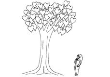Black and white cartoon benefits work tree. Business girl strategy do what she love Royalty Free Stock Images