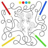 Black and white cartoon candy lollipop - puzzle for kids Stock Image