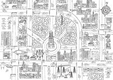 Black and white cartoon city for adult coloring Royalty Free Stock Photos