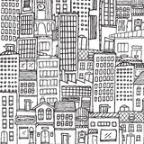 Black and white cartoon city texture for adult coloring Stock Photo