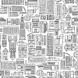 Black and white cartoon city texture for adult coloring Stock Image