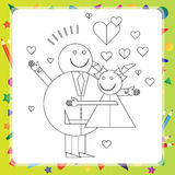Black and White Cartoon for Coloring Book Stock Photo