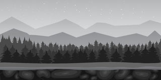 Black and White Cartoon forest game background landscape. Vector illustration. Cartoon forest game background landscape. Vector illustration. Black and white Stock Images