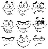 Black And White Cartoon Funny Face With Expression Set 1. Collection Stock Image