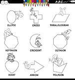Educational basic shapes set color book. Black and White Cartoon Illustration of Basic Shapes Educational Workbook Set for Children with Animals Characters Royalty Free Stock Image