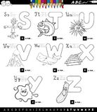 Educational cartoon alphabet set coloring book. Black and White Cartoon Illustration of Capital Letters Alphabet Educational Set for Reading and Writing Learning Royalty Free Stock Photo