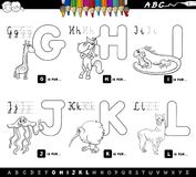 Color book educational cartoon alphabet for kids Royalty Free Stock Photography