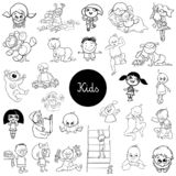 Cartoon kids characters black and white set stock illustration