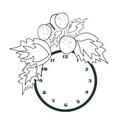 Black and white cartoon illustration of clock for coloring book Royalty Free Stock Photos