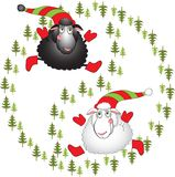 Black and white cartoon sheeps on a white Royalty Free Stock Image