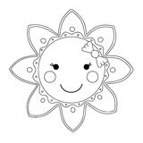 Black and white cartoon sun. Vector illustration Royalty Free Stock Images