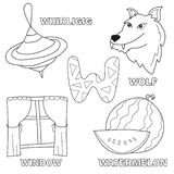 Black and White Cartoon Vector Illustration of Letter W - Coloring Book. Black and White Cartoon Vector Illustration of Letter W Worksheet for Preschool and vector illustration