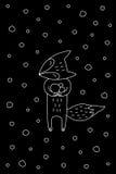 Black And White Cartoon Winter Vector Illustration. Outline cartoon winter illustration with sweet fox enjoying snow. Cute  black and white winter illustration Stock Photos