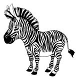 Black and white cartoon zebra Stock Photography