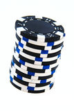 Black and white casino chips isolated Royalty Free Stock Photos