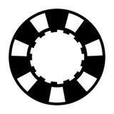 Black white casino poker chip. One black white casino poker chip on white background Stock Photography