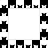 Black White Cat Chess board Border Background. Vector Illustration.  Royalty Free Stock Image