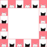 Black White Cat Chess board Border Pink Background. Vector Illustration.  Royalty Free Stock Image