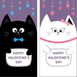 Black White Cat couple with bow. Flyer poster set. Cute funny cartoon character. Hanging pink blue heart. Dash line. Happy Valenti Royalty Free Stock Photography