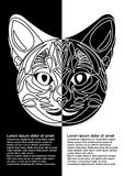 Black and white cat head in inverse leaflet design. Ornamental cat face in tattoo style.  Royalty Free Stock Images