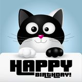 Black and white cat holding a happy birthday greeting card - illustration Stock Images