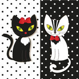 Black and white cat - illustration,  Stock Images