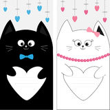 Black white cat kitty family couple holding heart shape paper. Hanging dash line Poster Notebook cover Composition book template C Royalty Free Stock Photography