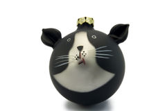 Black & white cat ornament. Christmas tree decoration of black and white cat stock illustration