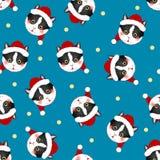 Black White Cat Santa Claus on Indigo Blue Background. Vector Illustration.  stock illustration