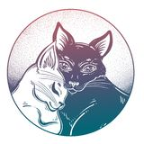 Black and white cat in tender hug of opposites in round frame. royalty free stock photo