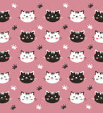 Black and white cat wallpaper. Black and white cat in pink background Royalty Free Stock Photography