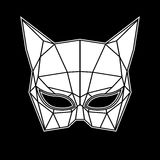 Black and white cat woman mask graphics triangles Royalty Free Stock Image