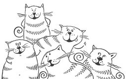 Black and white cats vector illustration