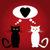 Black and white cats in love with heart vector illustration