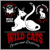 Black and white cats - vector set. Vector template for logo and tattoo. Vector illustration  on black Royalty Free Stock Photo